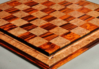 "Signature Contemporary III Chess Board - Cocobolo / Maple Burl - 2.5"" Squares"