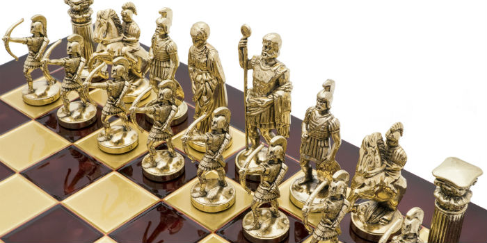 "2"" Small Archers Gold and Silver Finish Metal Chess Set"