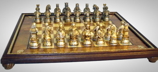 The Solid Pewter Camelot Chessmen with Elm Root Board
