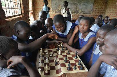 Uganda Kids learning chess