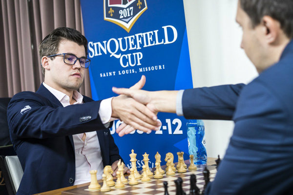 Magnus Carlsen in the Sinquefield Cup tournament at the chess club and scholastic center of St. Louis