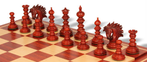 Strategos Staunton Chess Set in Padauk & Boxwood with Padauk & Maple Mission Craft Chess Board