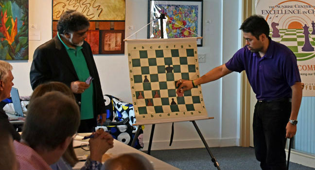 Sunil Weeramantry with a special guest, Hikaru Nakamura, during a teacher training workshop.