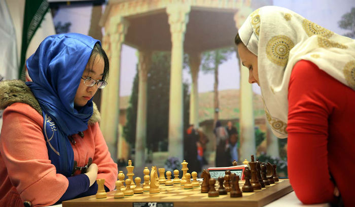 Tan Zhongyi and Anna Muzychuck at the Women's World Chess Championship in Tehran