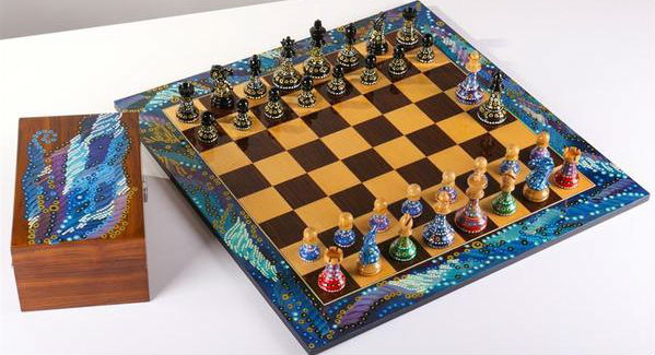 Sydney Gruber's painted chessmen, board, and box.