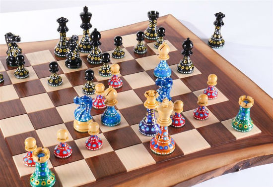 Sydney Gruber's Painted Chess Set - Live Edge Design