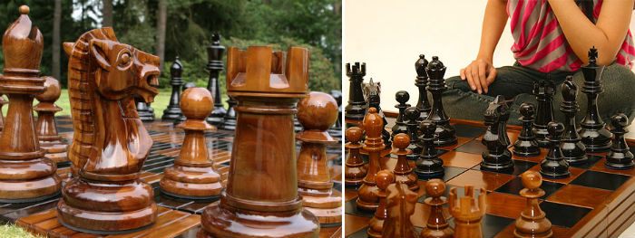 The MegaChess Teak Giant Chess Pieces