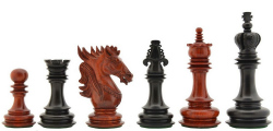 "The Dragon Knight Series Chess Pieces Carved in Bud Rose / Ebony Wood - 4.6"" King"