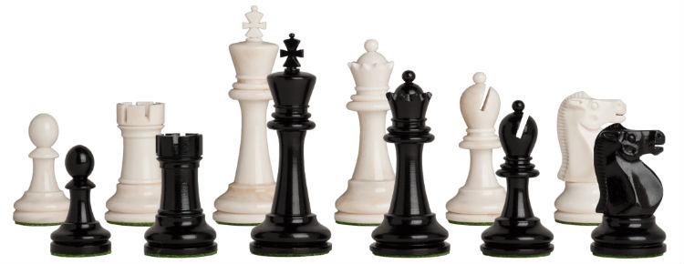 The Reykjavik II Series Bone Chess Pieces - Black & White