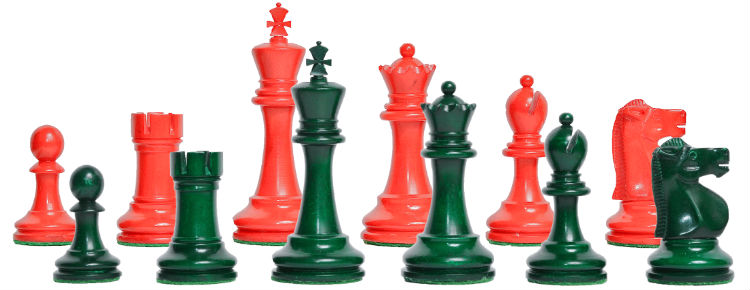 The Reykjavik II Series Bone Chess Pieces -Red & Green