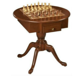 US Made Round Pedestal Game Table, Solid Cherry Wood - 3 in 1