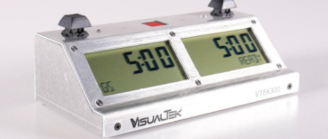VTEK 300 Digital Chess Clock - Brushed Aluminum Version