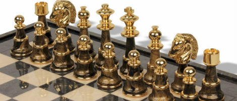 Large Classic Staunton Variegated Gold & Silver Chess Set