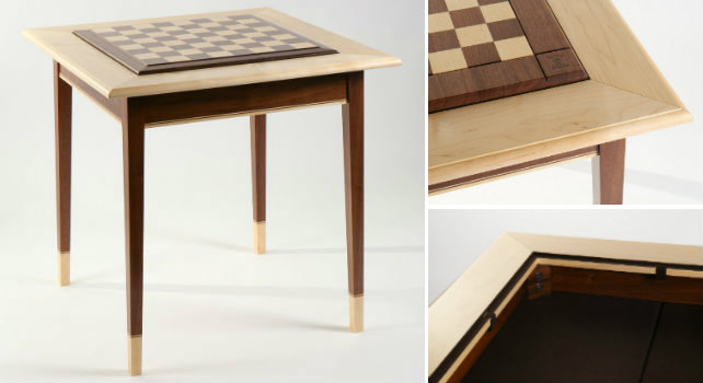 Walnut Maple Premium Hardwood Chess Table
