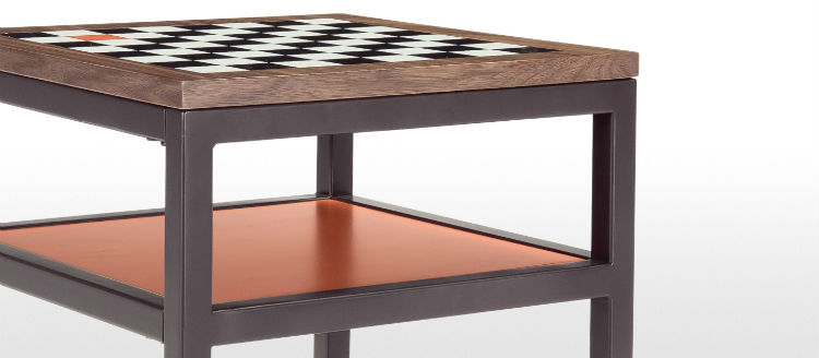 A Wooden & Metal Chess Table
