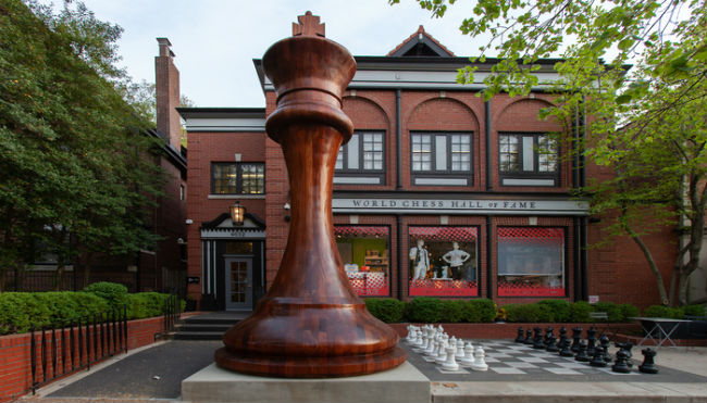 The largest chess piece ever created, stands proudly outside the entrance of the World Chess Hall of Fame in St. Louis, Missouri
