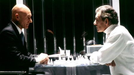 Professor Xavier and Magneto face off across the chess board