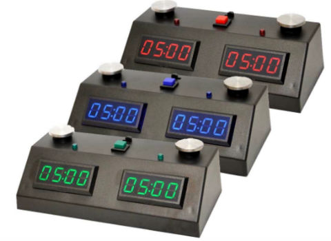 ZMart Fun II Digital Chess Clocks In 3 Different Colors - Red, Blue & Green